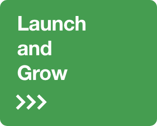 Big Rocket Design launch and grow your business button CTA for advertising and social media services.