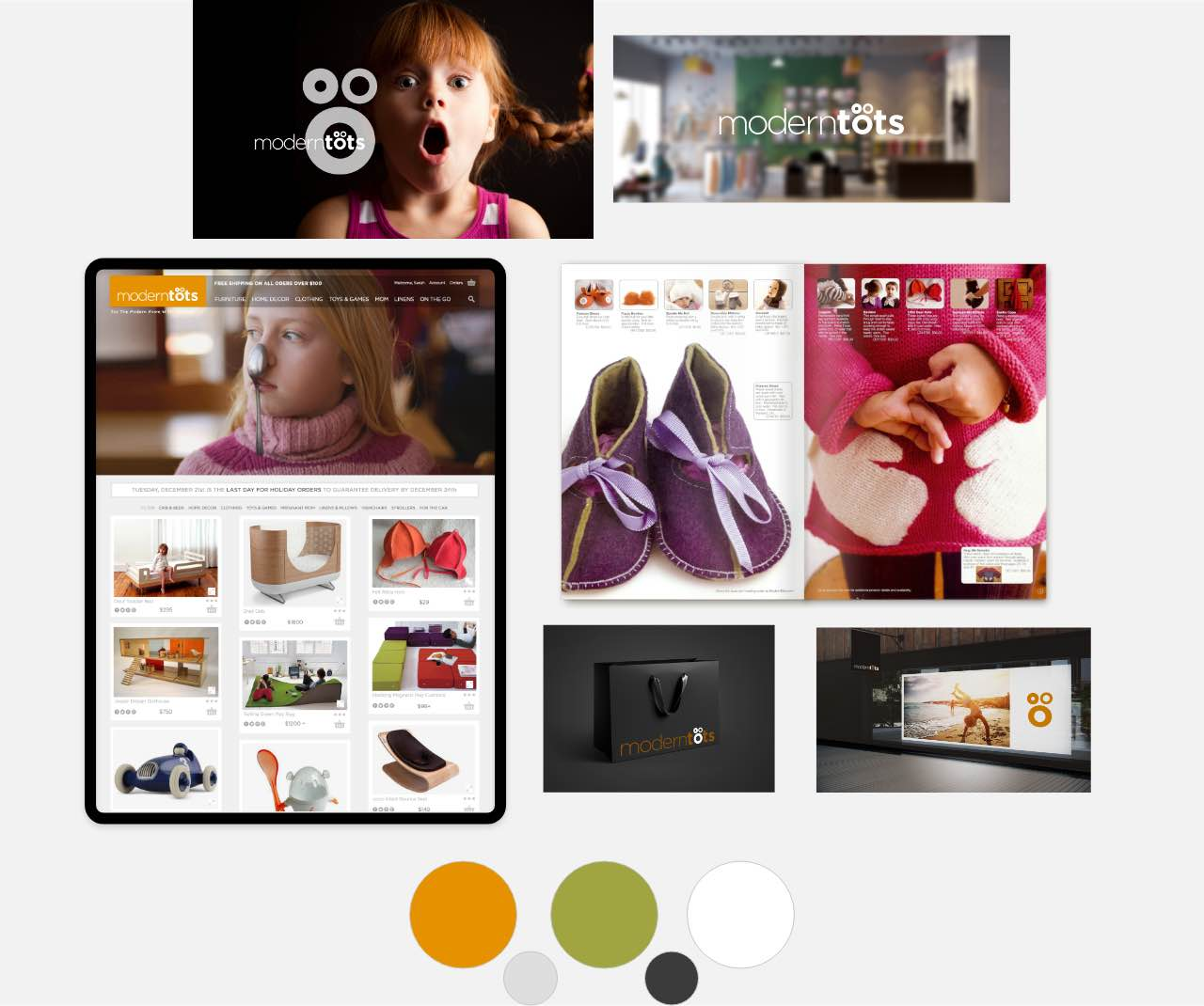Branding storyboard and samples for ModernTots. Logo, website, storefront, color palette, and catalog portfolio examples.