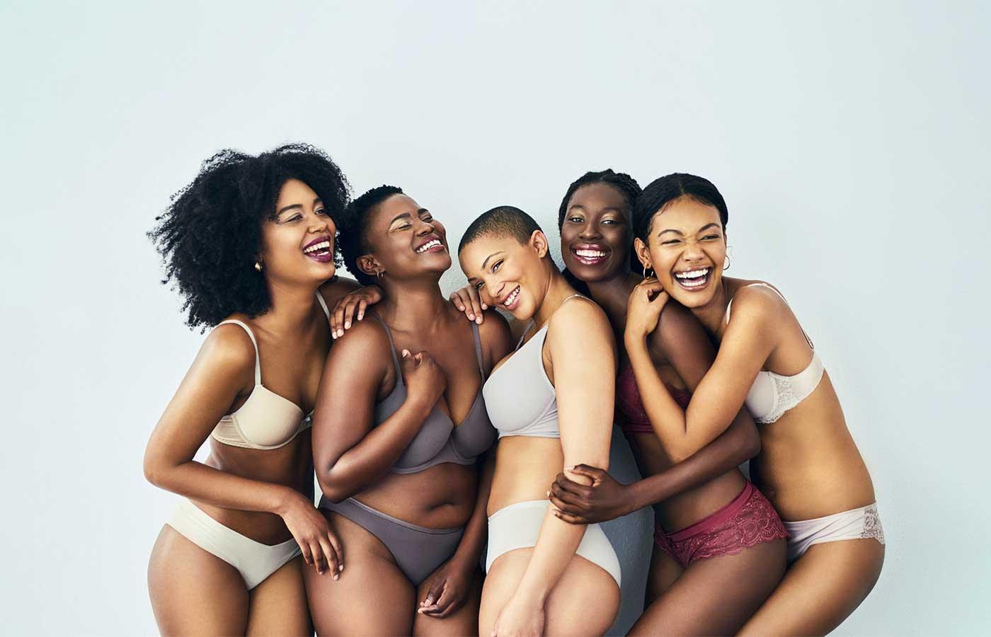 five African American women in their underwear