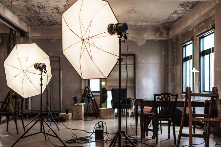 Image of photo studio being prepared for a shoot.